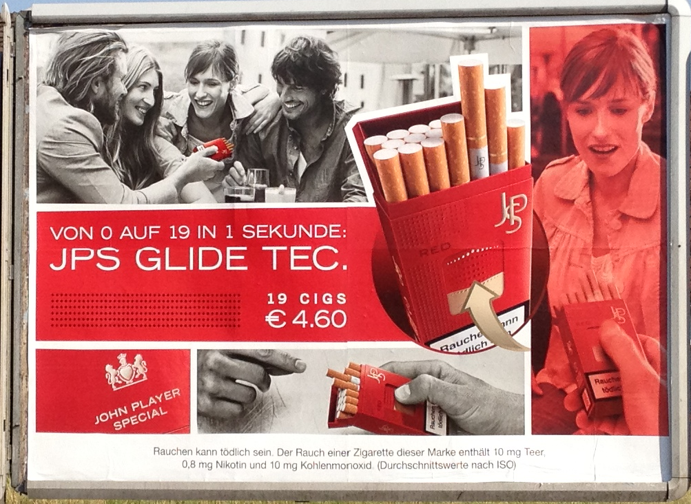 """Zigarettenwerbung """"JPS Glide Tec."""""""